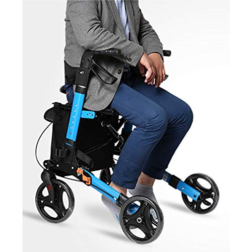 Stand Up Rollator Walker, Adjustable Handle Height with Upholstered Seat and Lower Basket Auxiliary Walking Safety Walker (Size : Blue-A) by YL WALKER (Image #7)
