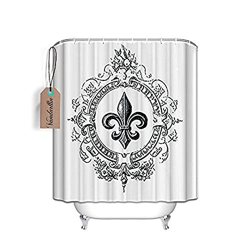 72 X 84 Inches Extra Long Vintage French Fleur De Lis Shower Curtain Standard White