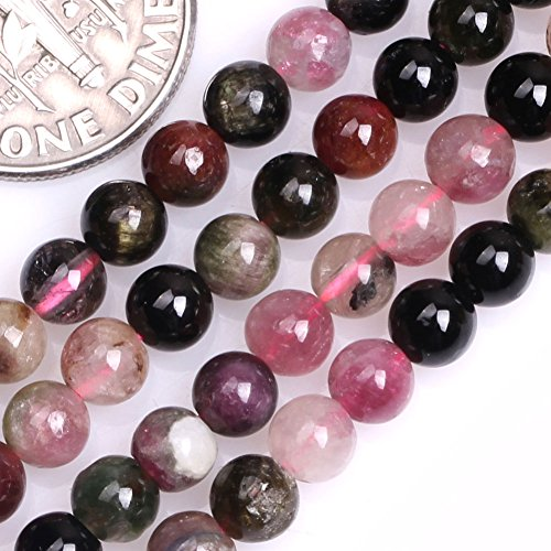 GEM-inside Tourmaline Gemstone Loose Beads Natural 4mm Round Energy Stone Power Beads for Jewelry Making 15""