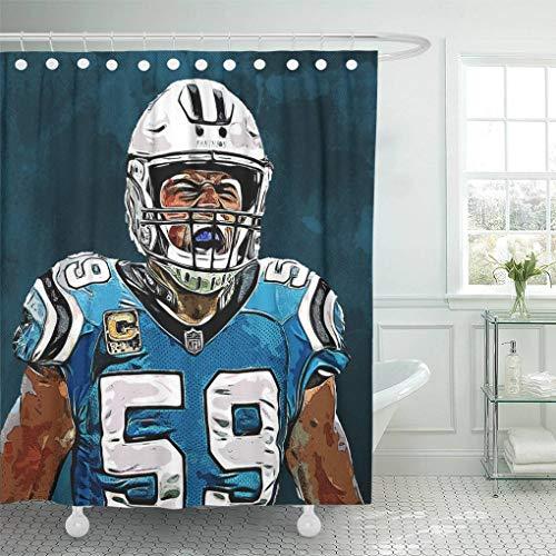 - Ladble Decor Shower Curtain Set with Hooks Luke Grunge Art Creative Football Linebacker Blue Grunge Background Kuechly Carolina Panthers 72 X 72 Inches Polyester Waterproof Bathroom
