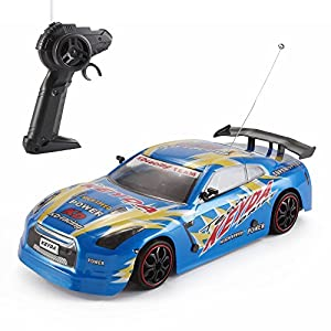 Fast Drift RC Racer 1:18 4WD Remote Control with Racing Tires & Drift Tires (Blue) 27Mhz by DeluxeRC
