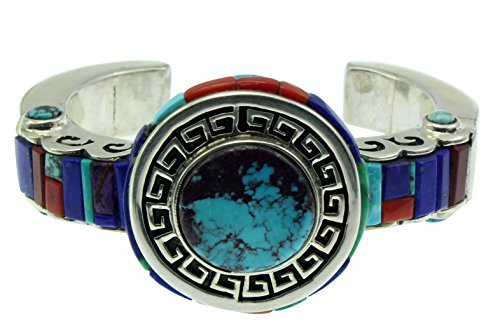 Hank Whitethorne, Bracelet, Bisbee Turquoise, Multi Stone, Silver,Navajo,7 (Bisbee Turquoise Bracelet)