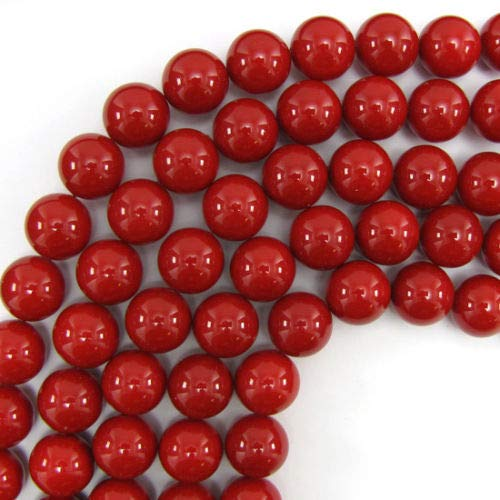 1 Pc of 16mm Red Shell Pearl Round Beads 16