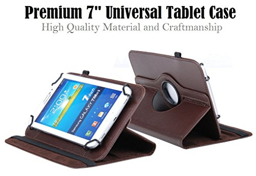 """Best Universal 7"""" Tablet Case, 360 Degree Rotating PU Leather Cover Stand Folio Case Compatible With Most 7"""" Tablets Asus LG Linsay RCA Samsung Tab (Brown)"""