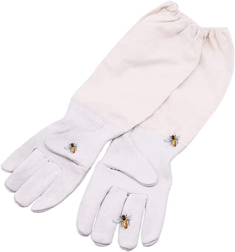 Paio di Guanti Protettivi di Apicoltura KKmoon professionale Abbigliamento da apicoltura Polsini anti-agitazione Guanti da apicoltore Apicoltore Prevenire Guanti Maniche protettive