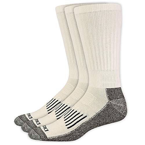 Dickies Men's Big and Tall 3 Pack Heavyweight Cushion Compression Work Crew Socks, White, Shoe Size 12-15 Size 13-15