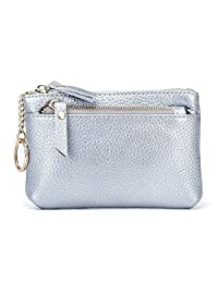 MuLier Leather Coin Purse with Key ring - Triple Zipper Card Holder Wallet Coin Pouch