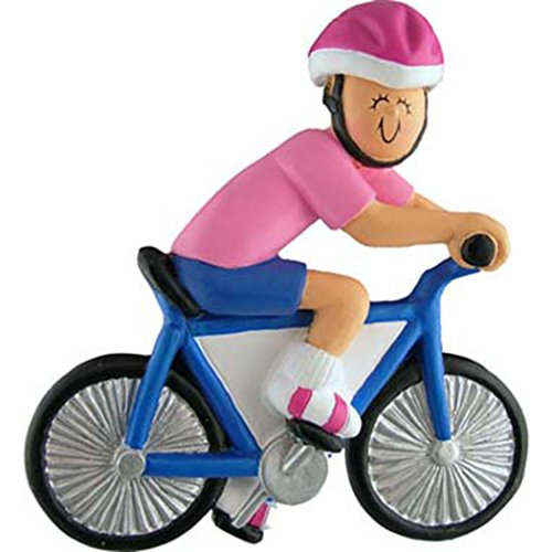 Personalized Bicycle Rider Girl Christmas Ornament for Tree 2018 - Woman Athlete with Helmet in Pink T-shirt Riding Bike Race - Professional Biking Hobby Holiday Free Customization by Elves (Female) (Ornament Bicycle Holiday)