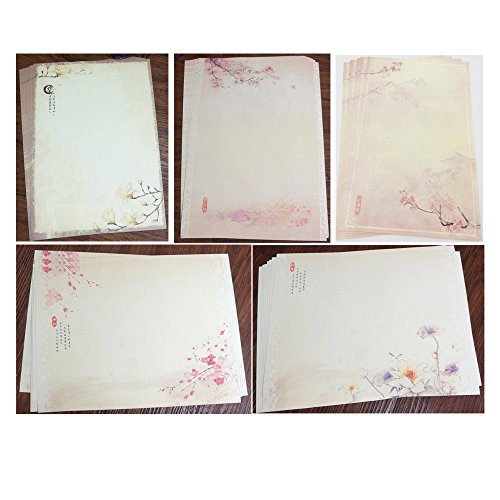 QingLanJian Retro Flower Chinese Style Writing Paper and Envelopes Stationary Set-40 sheets writing paper and 20pcs Envelopes (Peach Printing Paper)