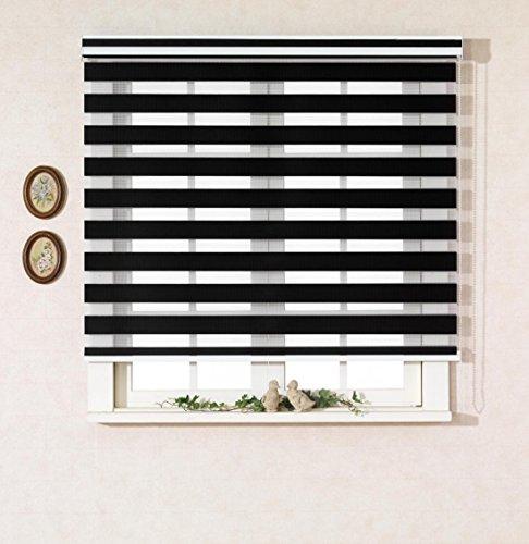 Custom Cut to Size , [Winsharp Basic , black , W 51 x H 64 (Inch)] Horizontal Window Shade Blind Zebra Dual Roller Blinds & Treatments , Maximum 91 Inch Wide by 103 Inch Long