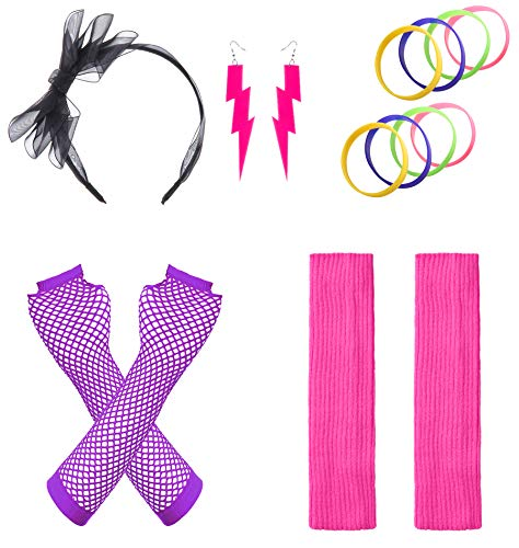JustinCostume Women's 80s Outfit Accessories Neon Earrings Leg Warmers Gloves, E