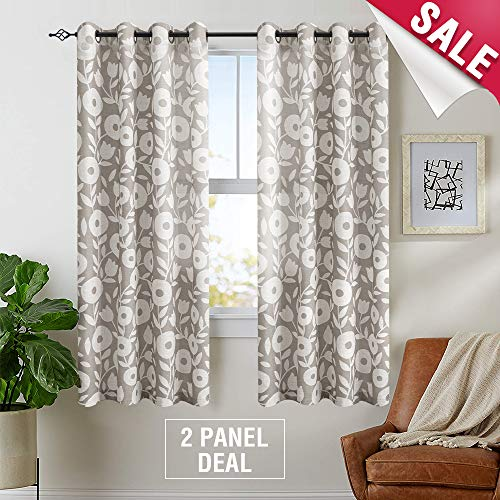 Floral Printed Curtains for Living Room 72 inch Length Linen Textured Vintage Window Curtain Panels for Bedroom Grommet Window Treatment Set, 2 Panels, Grey and White