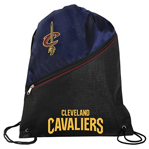 Cleveland Cavaliers Official NBA High End Diagonal Zipper Drawstring Backpack Gym Bag