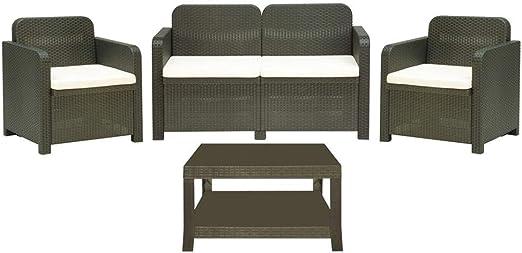 Juego de jardín de Resina Efecto ratán Club Light 2 sillones sofá y Mesa: Amazon.es: Jardín