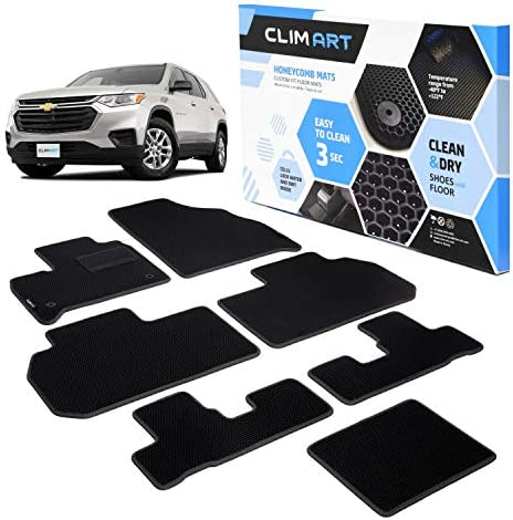 CLIM ART Honeycomb Custom Fit Floor Mats for Chevy Traverse 2018-2021, 1st & 2nd Row, Car Mats Floor Liner, All-Weather, Car Accessories for Man & Woman, Tapetes para Autos, Black/Black – FL011718077
