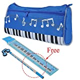 PUNK Waterproof Zipper Pen Bag Music Theme Keyboard Style Pencil Case 4 Colors with Cartoon Music Note Pencil Ruler Gift