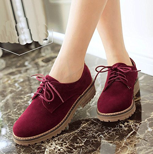 Pumps Flats Round Women's Aisun Red Casual Shoes Oxfords Dress Simple Wine Platform Lace Up Toe zvqqxtdU