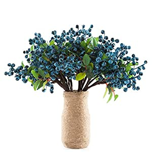 SHACOS Artificial Blue Berry Stems Pack of 20 Fake Berries with Green Leaves Berry Spray Pick 9.8 inch for Christmas Decorations Crafts Holiday Home Decor (20 PCS, Berry Blue)
