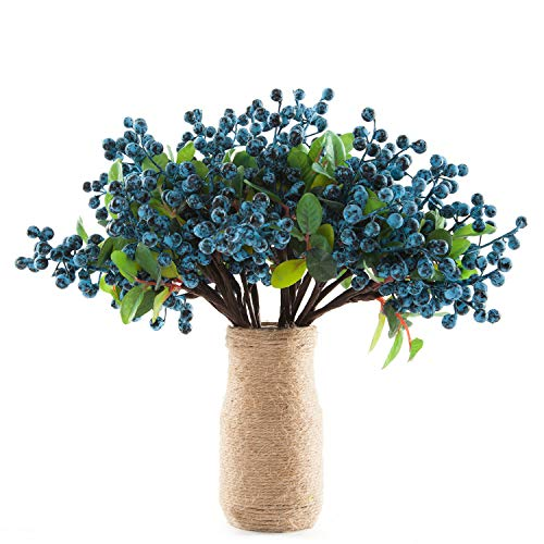 SHACOS Artificial Blue Berry Stems Pack of 20 Fake Berries with Green Leaves Berry Spray Pick 9.8 inch for Christmas Decorations Crafts Holiday Home Decor (20 PCS, Berry Blue) ()