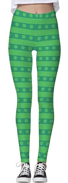 b60c61a1851e0 Spadehill St Patricks Day Women's Clover Green Striped Leggings Printed  Stretchy Irish Skinny Pants S