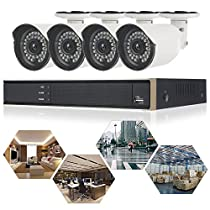 ELEOPTION 5 in 1 Security Camera System 4CH 1080N DVR Recorder Video and 4X 720P Surveillance Camera Waterproof Security Surveillance with App Control Night Vision Motion (K3043HV-White)