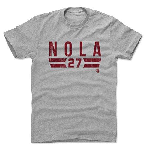 500 LEVEL's Aaron Nola Cotton T-Shirt XXL Heather Gray - Aaron Nola Font R - Philadelphia Baseball Fan Gear Officially Licensed by the MLB Players Association