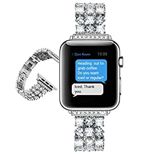 Pasnity Band for Apple Watch 42mm Series 1 / Series 2 / Series 3, Stainless Steel Handmade Crystals Replacement Bands for Apple Watch 42mm (Silver)