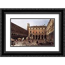 Canaletto 2x Matted 24x18 Black Ornate Framed Art Print 'The Campo di Rialto'