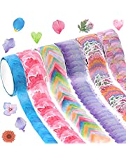 6 Roll Flower Petal Washi Tape 200 Petals Writing Washi Tape Floral Shape Tape DIY Petal Stickers Decorative Decals Tape for Scrapbooking Card Mail Diary Planner Decoration