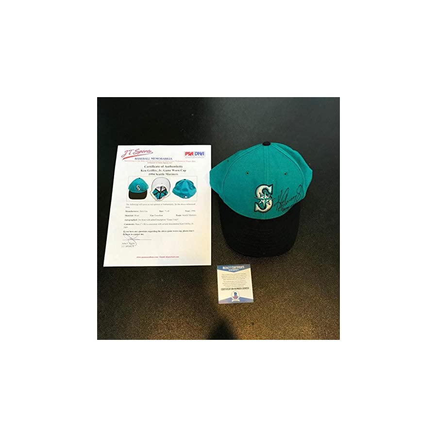 1994 Ken Griffey Jr. Signed Inscribed Game Used Seattle Mariners Hat BAS PSA/DNA Certified MLB Autographed Game Used Bats