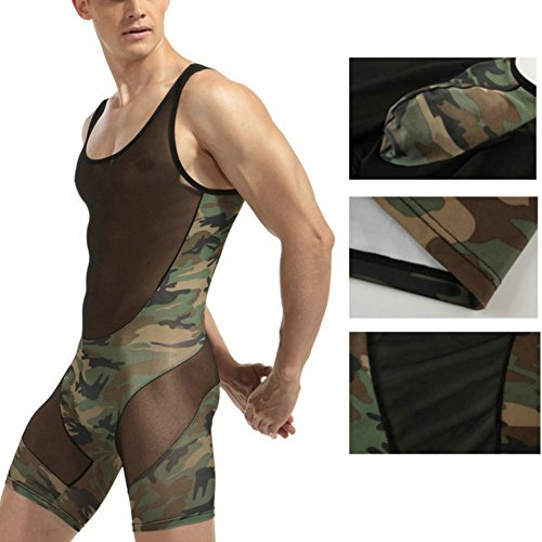 Mens Bodysuit (Men's Camouflage Tank top One Piece Wrestling Singlet Bodysuit Leotard Underwear, XXL)