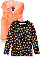 Limited Too Toddler Girls' Knit Top Vest Set (More Styles Available), Multi Print, 4T