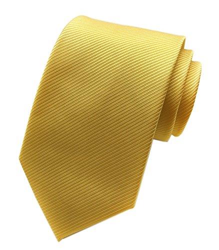 Elfeves Men's Repp Yellow Silk Tie Fine Striped Jacquard Woven Working Neckties