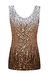 Women's Gradient Sleeveless Sequin V-Neck Tops