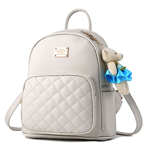 I Purse School Leather IHAYNER Bags Satchel Daypacks Travel Backpack Womens for White Casual rFqrwnatx