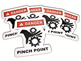 5 Industrial Safety Stickers | Caution Pinch Point Die Cut Safety Decals