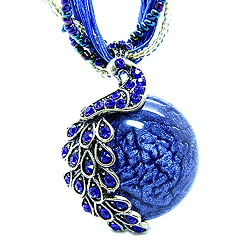 Zonman Pretty Jewelry Retro Bohemia Style Pendant Opal Phoenix Peacock Necklace Best Gifts for Women (P2)