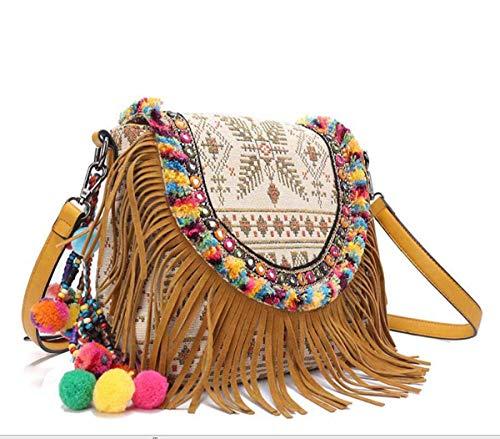 Crossbody Boho Casual Bag Tassel Ethnic Cimic Women Embroidered Shoulder SwIxc6