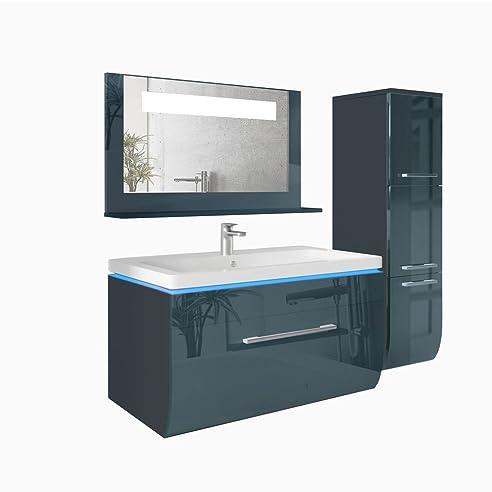Badmöbel Set 90Cm Anthrazit Hochglanz Badezimmer Waschbecken