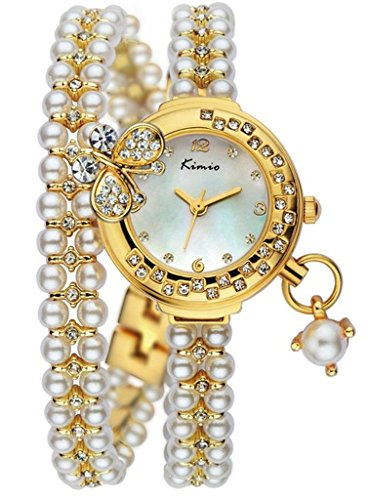 Pearl White Watch (Tidoo Charming Lady's Watch Gold Plated Fashion Butterfly Dec White Pearls Bangle Bracelet)