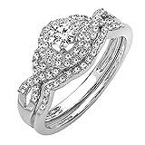 0.50 Carat (ctw) 14k White Gold Round Diamond Ladies Halo Style Bridal Engagement Ring Matching Band Wedding Set 1/2 CT (Size 6)