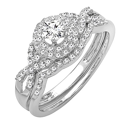 0.50 Carat (ctw) 14k White Gold Round Diamond Ladies Halo Style Bridal Engagement Ring Matching Band Wedding Set 1/2 CT (Size 6) by DazzlingRock Collection