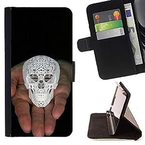 Momo Phone Case / Flip Funda de Cuero Case Cover - Cráneo Impreso 3D Blanco Amor de Dios Negro - HTC One M7