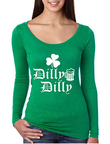 Allntrends Womens Shirt Dilly Dilly ST Patricks Shirt Irish Shamrock White