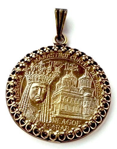 Saint Voivode Romania Monastery Gold Tone Romania Coin Jewelry,Necklace,Romanian Charms Medieval Jewelry Necklace