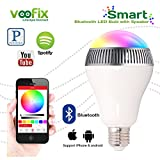 Voofix® Bluetooth Portable Wireless Speaker Smart LED Bulb, Bluetooth Speaker Lighting App Remote Control for Andriod IOS Smartphones, Ipad All Bluetooth Enabled Devices