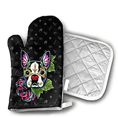 LALABULU Oven Mitts Tatoo Boston Terrier Non-Slip Silicone Oven Mitts, Extra Long Kitchen Mitts, Heat Resistant to 500Fahrenheit Degrees Kitchen Oven Gloves