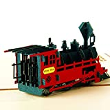 Arich 3D Pop UP Holiday Greeting Cards Valentine's Day Happy Birthday Gift--Train