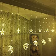 Led Star Curtain Lights, Moon Star String Light 138 Leds 250CM Length with 8 modes plug in Fairy Lights Christmas Window Curtains Light for Home decoration (Warm white)