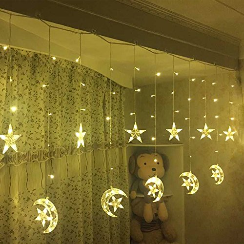 Led Star Curtain Lights, String Strip Light Moon 138 Leds 250CM Length Fairy Lights Christmas Window Curtains Light for Home decoration (Warm (Lights Decorations)